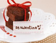 Sweet brownies with red ribbon - Happy Valentines Day