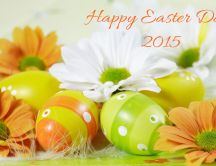 Happy Easter Day 2015 - flowers and colorful eggs