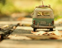 Old toy car on the road - HD wallpaper