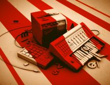 Vintage red and white radio - HD wallpaper