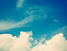 Fluffy white clouds and a blue sky - HD wallpaper