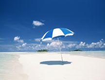 White and blue sunshade on the beautiful beach- HD wallpaper
