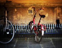 Red bicycle parked near the old wall - HD wallpaper