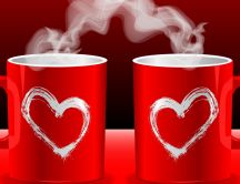 Lovely red cups of coffee - HD wallpaper