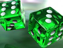 3D magic green poker dice - HD wallpaper