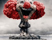 Atomic mushroom clown head hd wallpaper