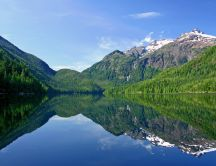 Green mountains mirrored in the lake