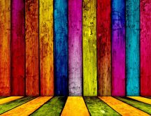 Colourful woods fence - beautiful wallpaper