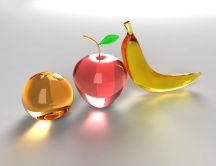 Glass fruits: banana, apple and orange - Abstract wallpaper