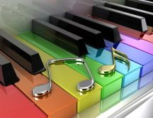 Colored piano keys and two musical notes