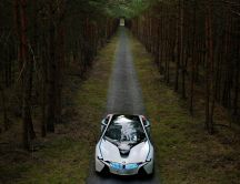 White BMW Vision EfficientDynamics in the forest