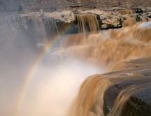 Rainbow on waterfall - HD wallpaper