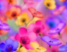 Abstract colorful flowers - HD Bright wallpaper