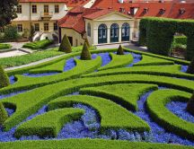HD Garden wallpaper - Green and blue, maze design