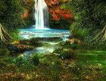 A beautiful waterfall in the green nature