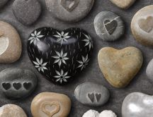 Heart stones in different colors - Love wallpaper