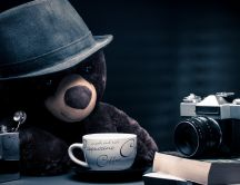 Coffee time for Teddy Bear with gray hat