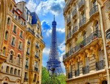 Tower Eiffel and beautiful buildings in Paris - Corner view