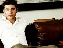 American actor Zac Efron with white shirt