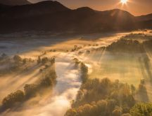 Fog over a valley - Morning nature wallpaper