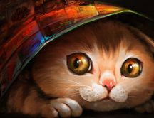A cat hiding under a magazine - Animal painting