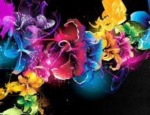 Colorful fractal flowers and butterflies