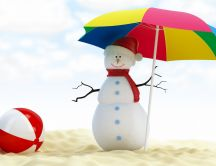 A snowman under an umbrella on beach - Funny wallpaper