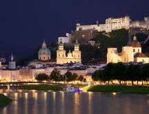 Salzburg Austria lighted in night - Amazing landscape