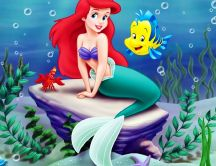 The Little Mermaid on a stone with two fish