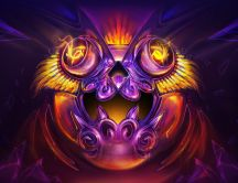 Abstract purple monster face with fire