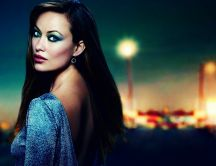 American actress, Olivia Wilde in blue