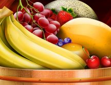 Fresh fruits in a basket - HD painting