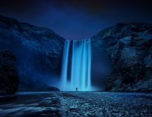 Stunning Skogafoss waterfall in night