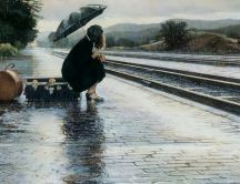 Waiting the rail in the rain - beautiful HD wallpaper