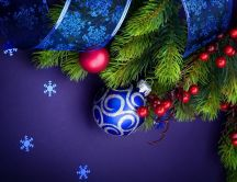 Beautiful blue Christmas accessories - Happy winter Holiday