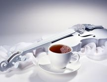 Beautiful white wallpaper - special guitar and hot tea