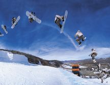 Beautiful snowboard jumps - winter sports