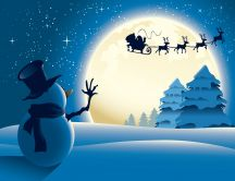 Snowman saw Santa Claus and reindeers fly on the sky