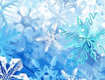 Blue winter wallpaper - lots of snowflakes