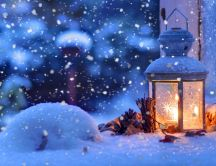 Warm candle in a cold winter night - HD wallpaper