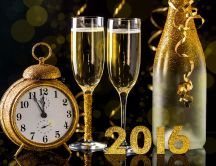 Golden clock and champagne bottle - Happy New Year 2016