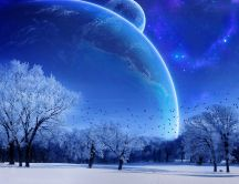 Blue cold night - big moon in the winter season