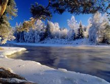 Mountain river - winter season - HD wallpaper