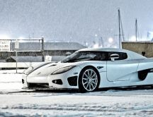 Beautiful white car in the winter season