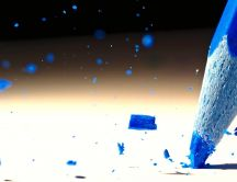 Frozen blue coloured pencil broken - Macro HD wallpaper