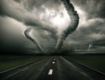 Double tornadoes on the road - wonderful weather storm