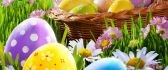 Happy Easter holiday - basket full with coloured eggs