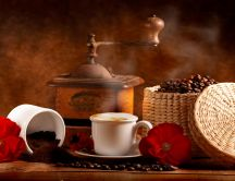 Basket full with coffee beans - delicious drink