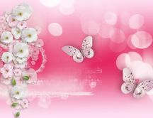 Butterfly dance on the music - HD pink wallpaper
