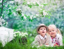 Sweet kids in the garden - happy spring time